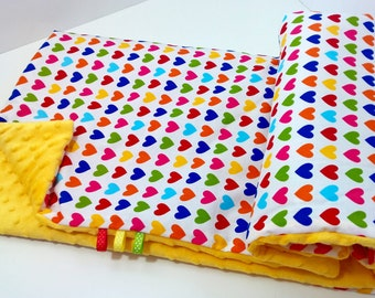 Super Soft Minky Blanket - Hearts/Sunshine Robert Kaufman