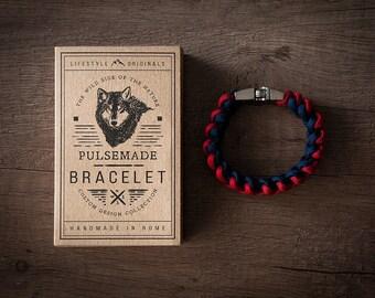 Male-female Imperial red bracelet-dark blue unisex-550 Paracord Bracelet Mens Pulsemade Xark-Handmade-Womens Imperial Red-Midnight Blue