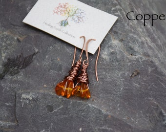 Amber cluster wire wrapped earrings