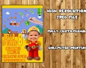 SUPER MARIO MAKER Printable Birthday Party Invitation / Mario Birthday Party