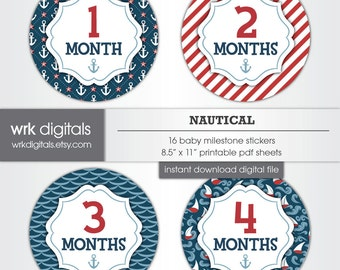 Nautical Baby Monthly Milestone Stickers, INSTANT DOWNLOAD Month by Month Stickers, Printable Baby Milestone Stickers