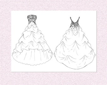 Personalised fashion illustration, Custom Wedding dress gown design, personalized prom dress sketch fashion technical illustration