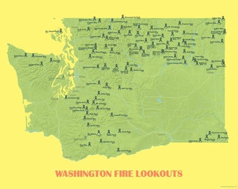 Washington Fire Lookouts Map 11x14 Print