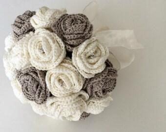Fabric Flower Bouquet, Artificial Flower Arrangement, Crochet Bridal Bouquet, Red Rose Bouquet, Wedding Bouquet Alternative
