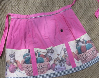 Vintage Apron with Cat Pattern