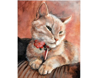 CUSTOM pet portrait on canvas - ONE pet - with love to animals - N-Chrt-S