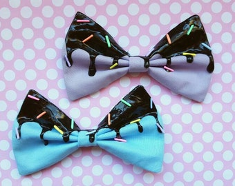 Pastel Goth Black Icing Bow with Rainbow Sprinkles
