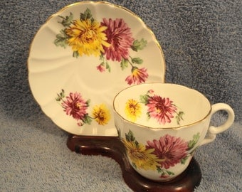 Cup And Saucer Mum Floral Fine Bone China Stanley England