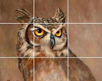 Owl Tile Mural Painting Back Splash Kitchen Home Decor Art
