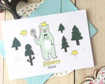 Funny Forest POP-UP Forest Animal Blank Greeting Card With Envelope/1PC/Polar Bear