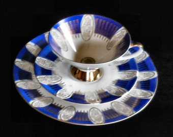 Bareuther Bavaria Porcelain Cup Saucer and Plate Trio Blue Trim with Gold Filigree