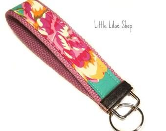Fabric Key Chain, Key Fob, Wristlet, Floral, Key Holder, Keychain, Wristlet Keychain, Fabric Key Fob, Fabric Keychain, Floral Print
