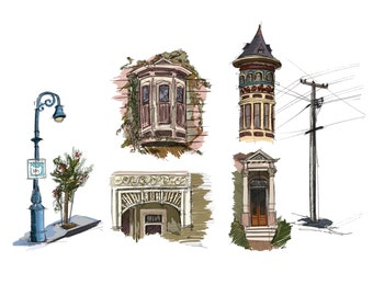 San Francisco City Sketches - Art Print