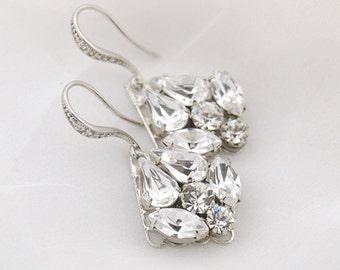 Swarovski crystal earrings - crystal drop earrings - bridal earrings - wedding earrings - diamond drop earrings - Tessa earrings