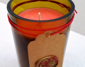 Love Spell Soy Candle in upcycled/recycled green wine bottle