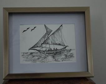 Sailing Ink Original Art on Yupo