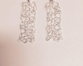 Silver Rectangular Crochet Wire Earrings