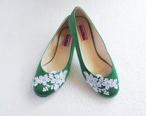 White lace green satin wedding shoes floral embroidered bridal ballet flats summer rustic wedding fashion flower bridesmaid shoe for bride