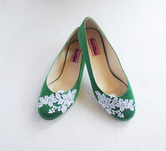 Personalized Wedding Slippers Bridal Party Slippers: White Lace Green Satin Wedding Shoes Floral Embroidered Bridal