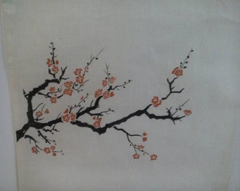Hand painted tote bag. Japanese cherry!