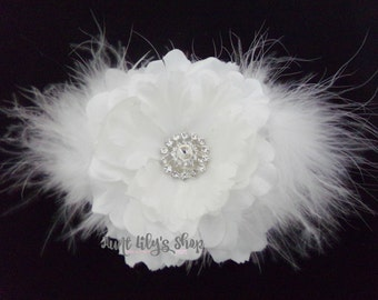Hair flower, hair accessory, white, fabric flower with white feathers and rhinestone  centre.