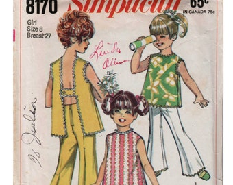 Girls Mod Outfit SIMPLICITY 8170 sz 8 b 27 Girls Summer Outfit Summer Top Pattern Girls Shorts Pattern Girls Bell Bottoms 1960s Girls Outfit