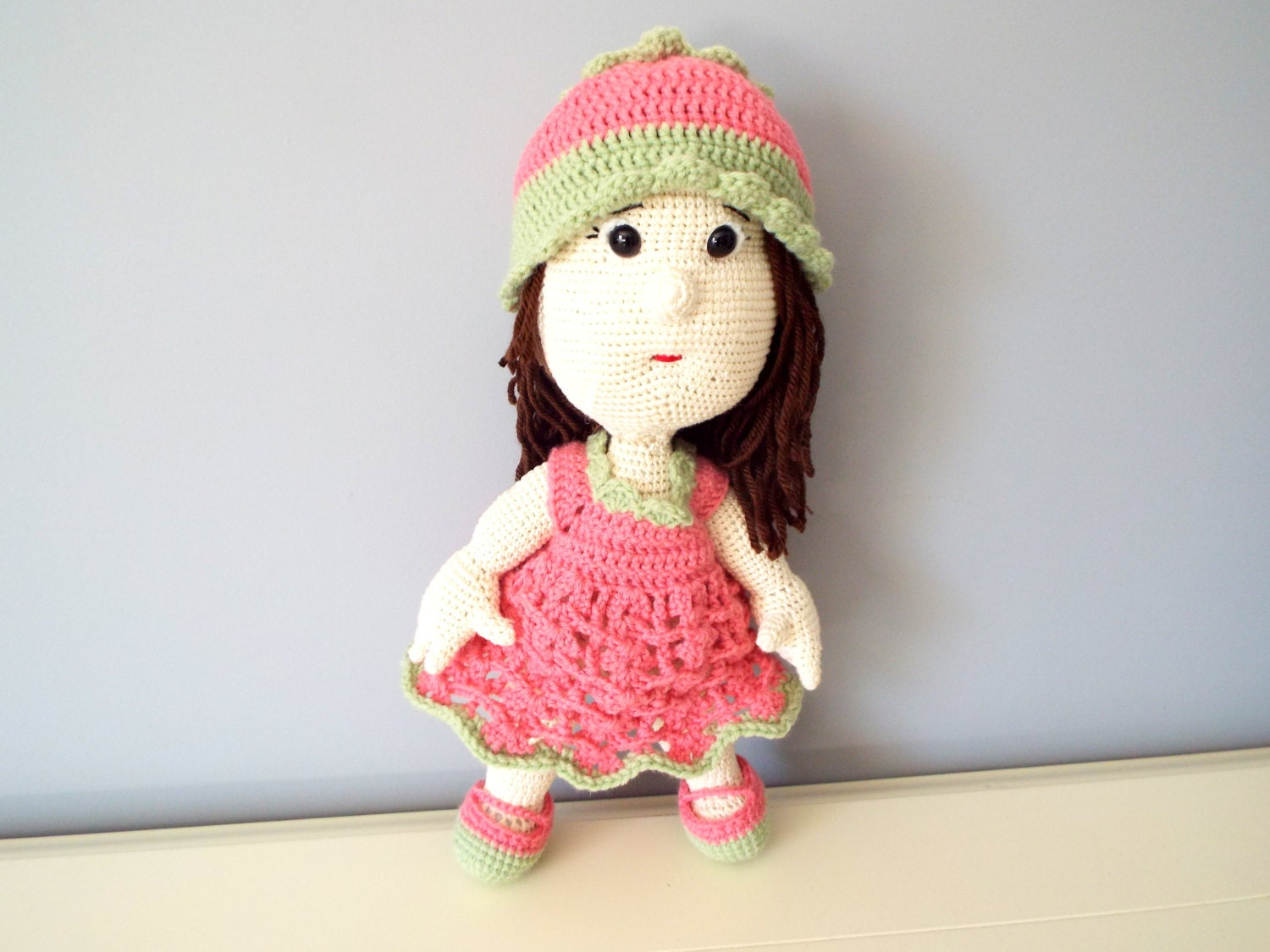 Cute Amigurumi Ideas : Crochet pink doll Kids Toys Baby shower Home decor Knitted ...