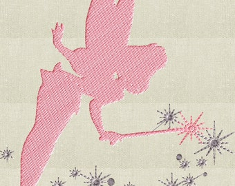 Fairy Silhouette Embroidery Design -Font not included- EMBROIDERY DESIGN FILE - Instant download - Dst Jef Pes VP3 Exp formats