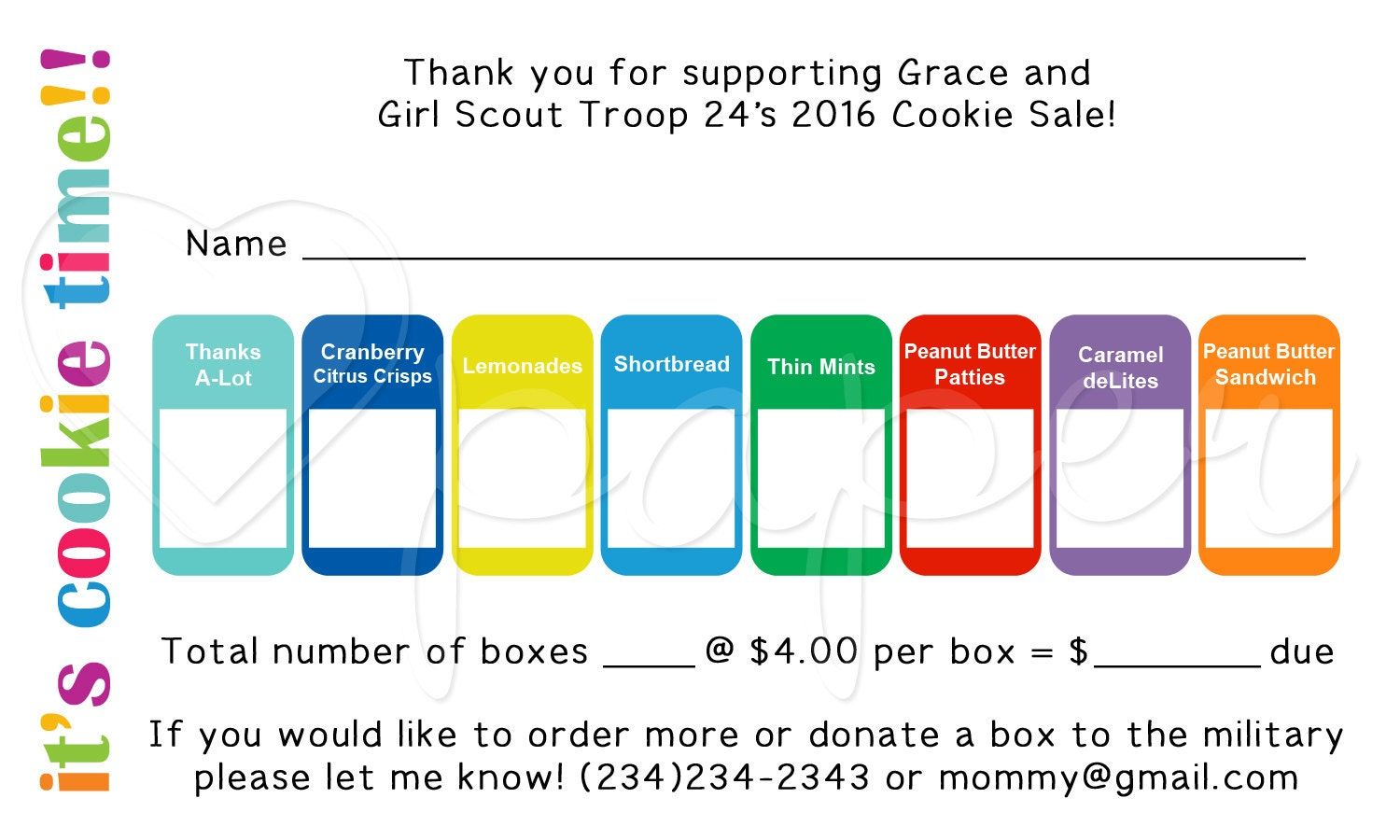 one girl girl scout cookie order receipt thank you by