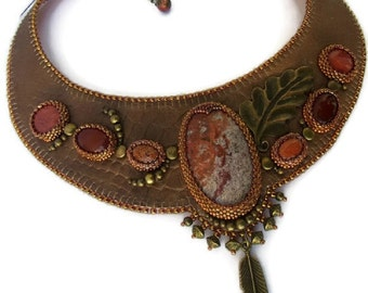 Ethnic brown Leather Embroidered Necklace, Brown Leather neckalce gemstones