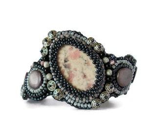 Woamn bracelet, Asymetric Cuff bracelet, Embroidered Cuff Bracelet, gemstone Cuff bracelet, Black and silver cuff bracelet