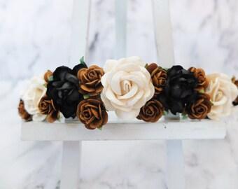 Ivory black white gold brown wedding flower crown - headpiece - head wreath - bridesmaid hair accessories - flower girls - garland