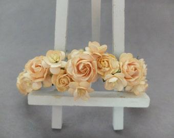 Peach flower crown - peach flower headpiece - rose hair crown - flower headpiece - flower crown - flower headband - hair wreath