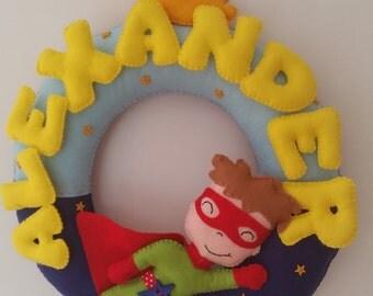 superhero name ring, bedroom decor, door wreath, door hanger