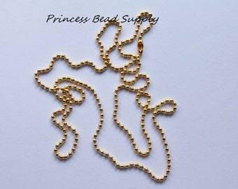"""Set of 10 Gold Ball Chain Necklace 2mm with Connector,  27.6"""" Long Ball Chain Necklace"""