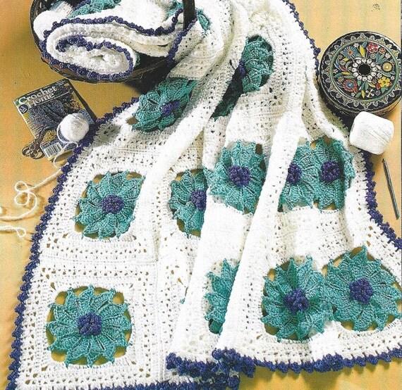 Crochet Floral Pinwheel Afghan Blanket Lap By Patternsforhome