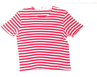 Vintage ribbed tee. Red and white stripped top