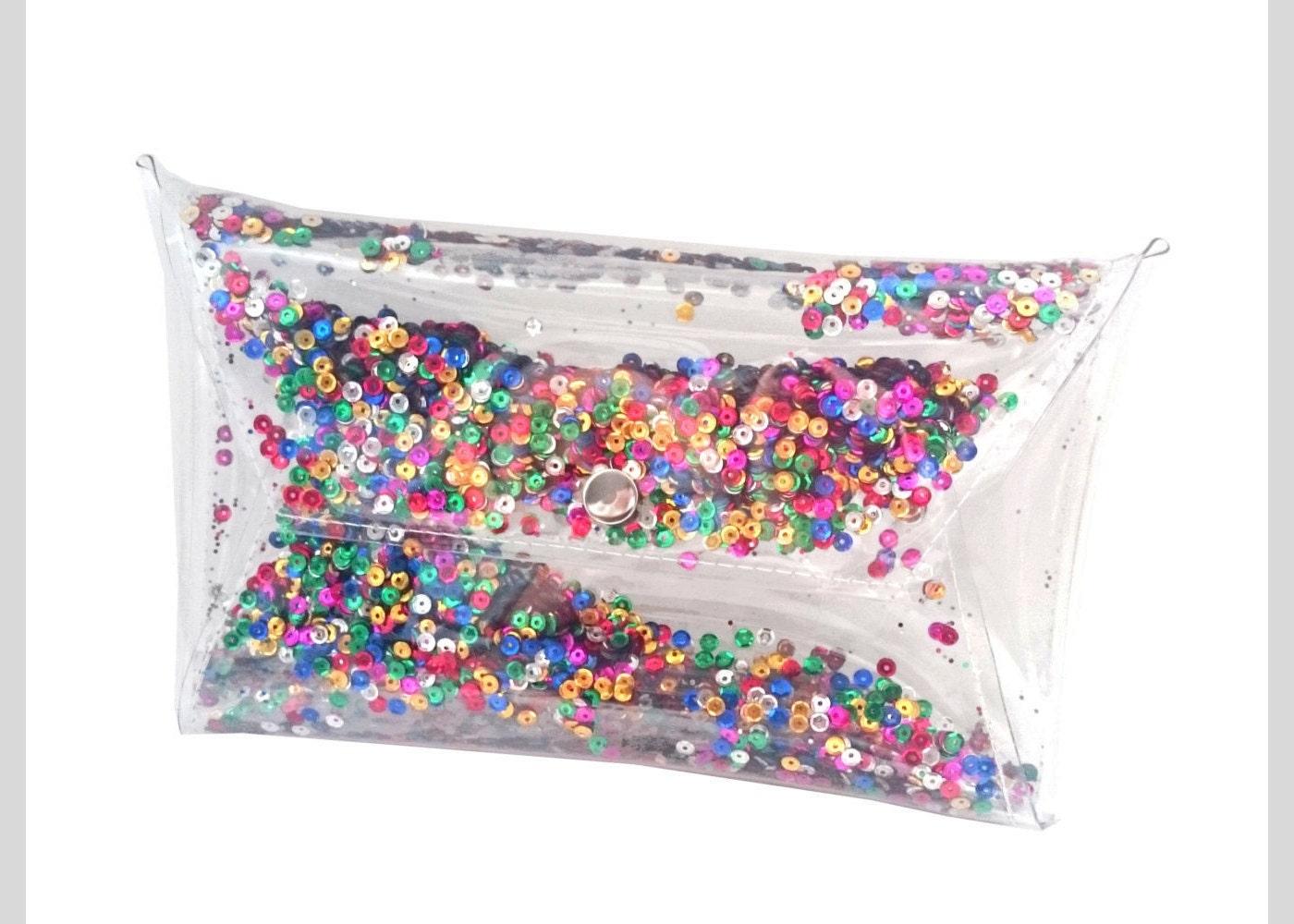 Sequin clutch Clear purse bag transparent 90's glitter
