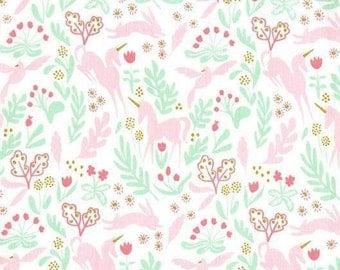 Michael Miller - Magic - Sarah Jane - Magic Folk - MD7190-WHIT-D - Metallic - Mint - Pink - Unicorn