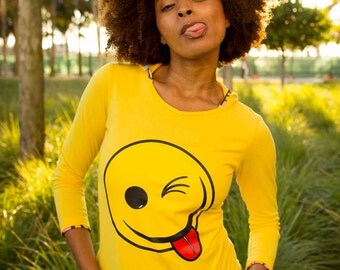 Cute Sweatshirts Teen Girl Clothes EDM Cotton Clothing Funny Shirts Smiley Face Yellow Hoodie