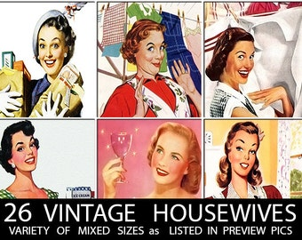 26 VINTAGE HOUSEWIFE PICTURES // Mixed Size Images // Size of Each Image Shown in Preview Pics // : retro housewive house wive wife download
