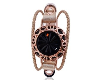 Jawbone Up Move leather bracelet Olympia -Rose Gold - made from stainless steel and leather