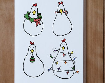 Christmas Chicken Card, Animal Christmas Card, Animal Card, Chicken Cards