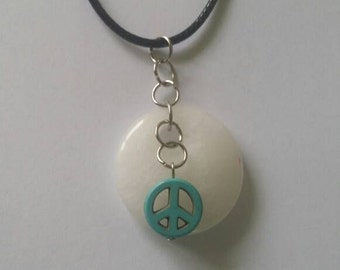 White necklace, blue necklace,  white and blue necklace, black leather necklace