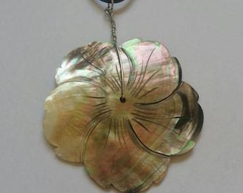 Mother of pearl pendant, flower pendant, flower necklace,  brown necklace,  brown pendant