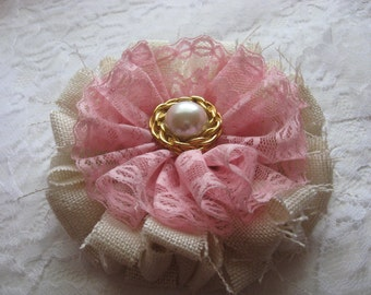Handmade Fabric Flower with Pink Lace Adorned with Faux Pearl , Gold Tone Embellishment / Shabby Chic/Brooch/Hair Barrette