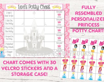 Princess Potty Chart, Potty training chart, Positive rewards chart, personalized potty chart, fully assembled with directions for use