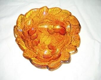 Indiana Glass, Iridescent Marigold Dish, Carnival Glass, Grape Leaf Bowl