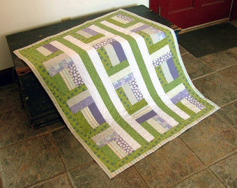 "Purple and Green Baby Crib Quilt 35"" by 46"""