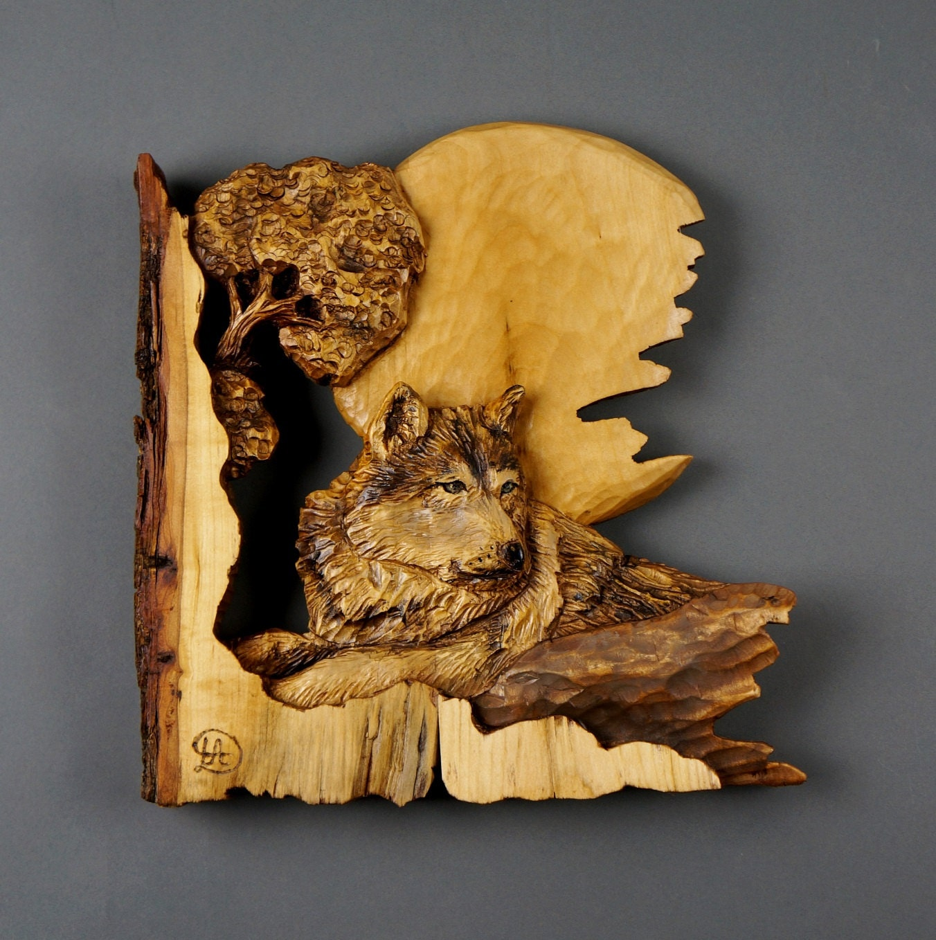 Wolf carved on wood carving with bark in relief gift